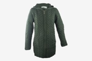 Irish Merino Wool Ladies Hooded Aran Zip Sweater Coat