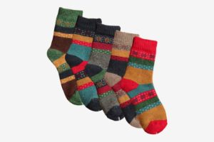 YSense Womens Warm Knit Casual Wool Crew Winter Socks (Five Pairs)