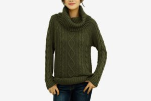 v28 Women's Korean Design Turtle Cowl Neck Ribbed Cable Knit Long Sweater Jumper