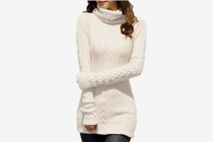 v28 Women Polo Neck Knit Stretchable Long Sleeve Slim Sweater